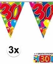 30 jaar vlaggenlijnen 3x met gratis sticker