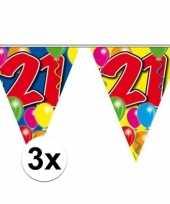 3x 21 jaar vlaggetjes slingers 10 meter