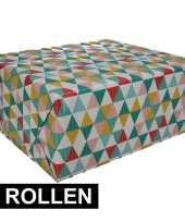 3x gekleurd cadeaupapier met grafische print 70 x 200 cm