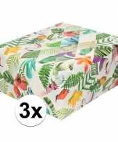 3x gekleurd cadeaupapier met tropische vogels 70 x 200 cm