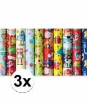 3x rol kinderverjaardag inpakpapier met piraten print 200 x 70 cm