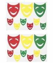 3x sets raamsticker vrolijke maskers rood geel groen 35 x 40 cm carnaval decoratie