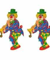 3x stuks wanddecoratie carnaval clown 70 cm