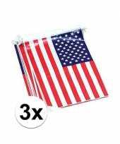 3x vlaggenlijn met amerikaanse vlag