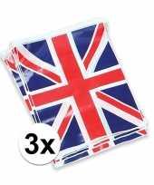 3x vlaggenlijn met de engelse vlag