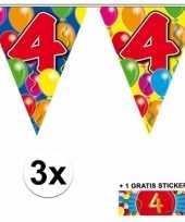 4 jaar vlaggenlijnen 3x met gratis sticker