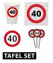 40 jaar verjaardag tafel versiering set stopbord