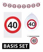 40 jaar verjaardag versiering set basic stopbord