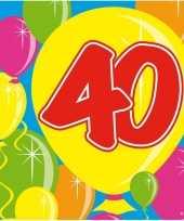 40x veertig 40 jaar feest servetten balloons 25 x 25 cm verjaardag jubileum