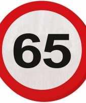 40x vijfenzestig 65 jaar feest servetten verkeersbord 33 cm rond verjaardag jubileum