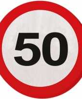 40x vijftig 50 jaar feest servetten verkeersbord 33 cm rond verjaardag jubileum
