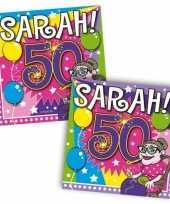 40x vijftig 50 jaar sarah feest servetten ballonnen 25 x 25 cm verjaardag jubileum