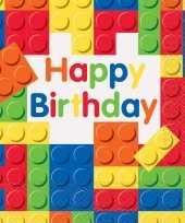 48x bouwstenen blokken themafeest feest servetten 33 x 33 cm kinderpartijtje
