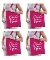 4x bride squad vrijgezellenfeest tasje roze dames