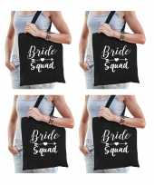 4x bride squad vrijgezellenfeest tasje zwart dames