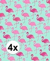 4x gekleurd cadeaupapier met flamingos 70 x 200 cm type 2