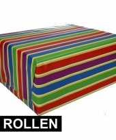 4x gekleurd cadeaupapier met strepen 70 x 200 cm type 1