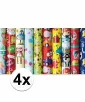 4x rol kinderverjaardag inpakpapier met olifanten print 200 x 70 cm