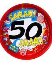 50ste verjaardag sarah metalen dienblad 30 cm