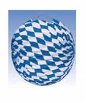 5x blauw wit geblokte oktoberfest lampionnen 25 cm