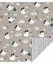 5x rollen verjaardag kadopapier taupe geboorte ooievaar 200 x 70 cm voor kinderen