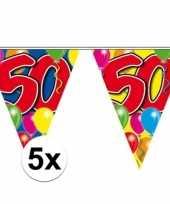 5x stuks 50 jaar slingers vlaggetjes 10 meter