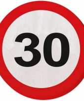 60x dertig 30 jaar feest servetten verkeersbord 33 cm rond verjaardag jubileum