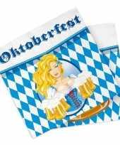 60x oktoberfest bierfeest feest servetten blauw 33 x 33 cm