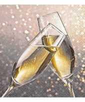 60x oud en nieuw servetten champagne