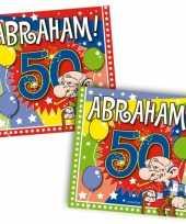 60x vijftig 50 jaar abraham feest servetten ballonnen 25 x 25 cm verjaardag jubileum