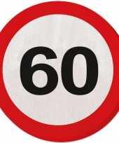 60x zestig 60 jaar feest servetten verkeersbord 33 cm rond verjaardag jubileum