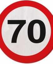 60x zeventig 70 jaar feest servetten verkeersbord 33 cm rond verjaardag jubileum