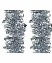 6x kerst lametta guirlandes lichtblauw glitters glinsterend met sterren 10 cm breed x 270 cm