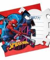 6x marvel spiderman uitnodigingen 7 cm kinderverjaardag