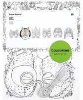 6x maskers om in te kleuren voor kinderen