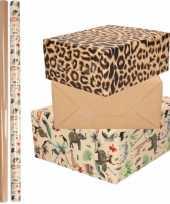 6x rollen kraft inpakpapier jungle panter pakket dieren luipaard bruin 200 x 70 cm