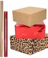 6x rollen kraft inpakpapier pakket dierenprint metallic rood en bruin 200 x 70 50