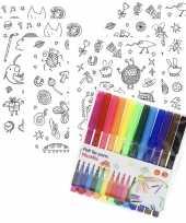6x sticker vellen om in te kleuren met 12 stiften voor kinderen