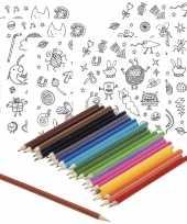 6x sticker vellen om in te kleuren met 24 potloden voor kinderen