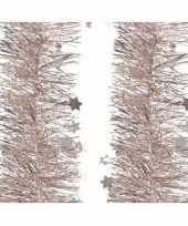 6x stuks kerst lametta guirlandes lichtroze sterren glinsterend 10 cm breed x 270 cm