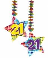 6x stuks plafond hangdecoratie sterren 21 jaar verjaardag