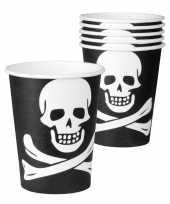 6x zwarte piraten bekers 250 ml