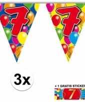 7 jaar vlaggenlijnen 3x met gratis sticker