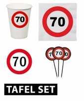 70 jaar verjaardag tafel versiering set stopbord