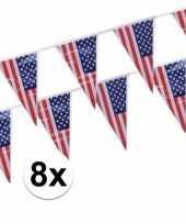 8x amerikaanse usa punt vlaggetjes lijnen