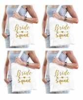 8x bride squad vrijgezellenfeest tasje wit goud dames