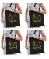 8x bride squad vrijgezellenfeest tasje zwart goud dames