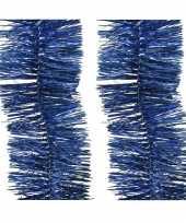 8x kerst lametta guirlandes kobalt blauw 270 cm kerstboom versiering decoratie
