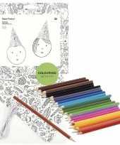 8x punt hoedjes om in te kleuren met potloden voor kinderen