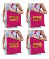 8x vrijgezellen bride to be tasje roze goud dikke letters dames